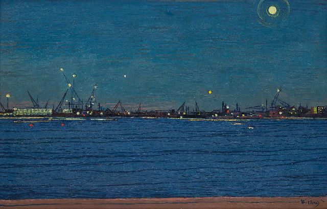 Herman Bieling | The river Maas by night, oil on canvas, 38.4 x 60.1 cm, signed l.r.
