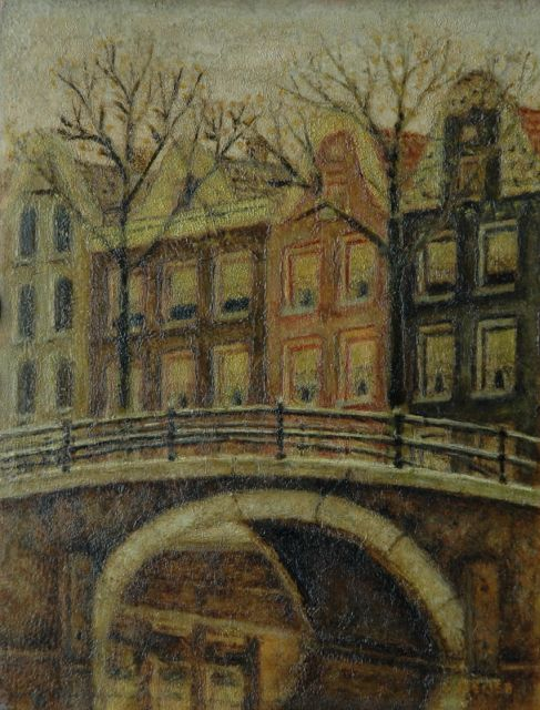 Sal Meijer | A view of a canal, Amsterdam, oil on panel, 20.6 x 15.7 cm, signed l.r.
