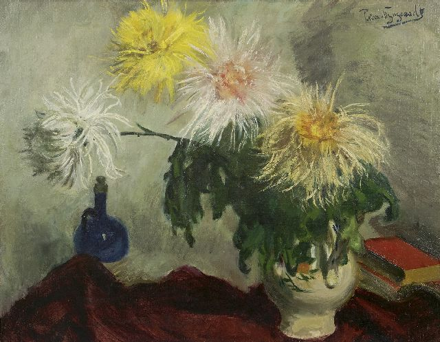 Wijngaerdt P.T. van | Chrysanthemum splendor, oil on canvas 80.3 x 100.3 cm, signed u.r.