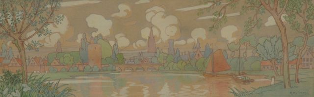 Rodolphe Wytsman | Flanders: The Minnewater (study for a frieze, left side), pencil and watercolour on paper, 60.0 x 21.7 cm, signed l.r. and executed in 1902
