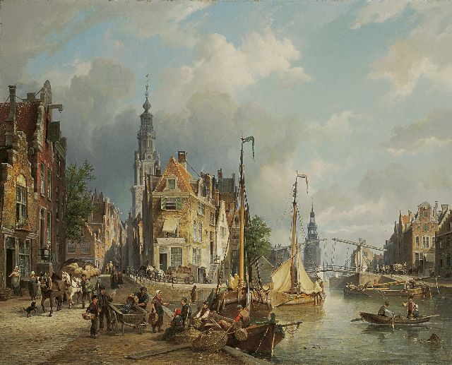 Cornelis Christiaan Dommelshuizen | The Zwanenburgwal with the Montelbaanstoren in the distance, Amsterdam, oil on canvas, 61.6 x 76.5 cm, signed l.c. and with initials on the fish cart and dated 'Bruxelles 1873'