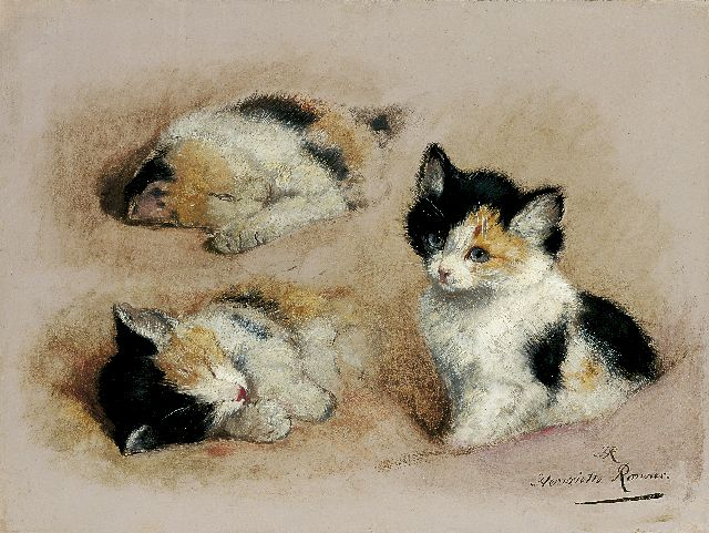 Henriette Ronner-Knip | Study of a kitten, oil on paper laid down on panel, 27.1 x 36.1 cm, signed l.r. with initials and in full