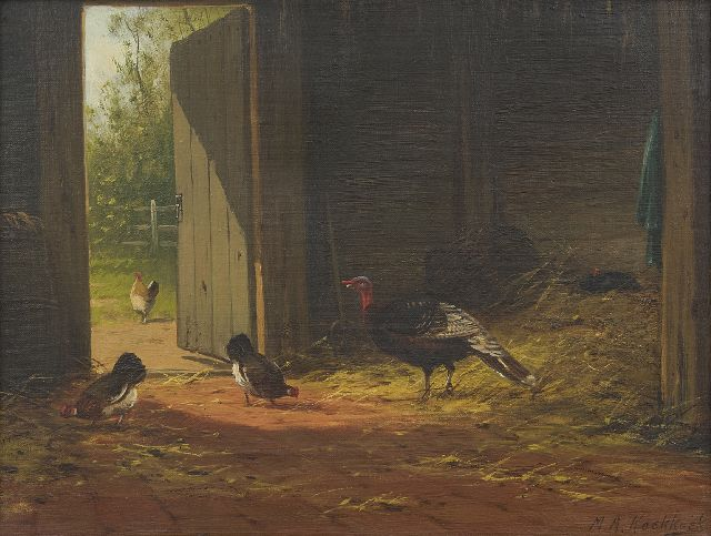 Marinus Adrianus Koekkoek II | In the barn, oil on canvas, 27.3 x 35.5 cm, signed l.r.