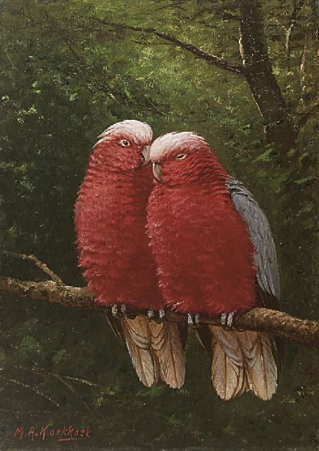 Marinus Adrianus Koekkoek II | A cockatoo couple, oil on canvas, 37.7 x 26.8 cm, signed l.l.