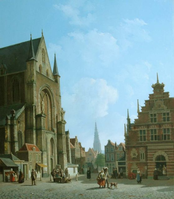 Johannes Rutten | View of the Grote Markt, with the St. Bavokerk, the Vleeshal and the Nieuwe Kerk, Haarlem, oil on panel, 70.1 x 61.0 cm, signed l.r. and dated '57