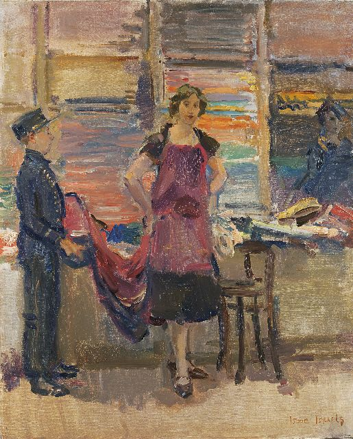 Israels I.L.  | Trying on fabrics in Maison Wijnman, The Hague, oil on canvas, 80.0 x 65.5 cm, signed l.r. and painted between 1925-1926