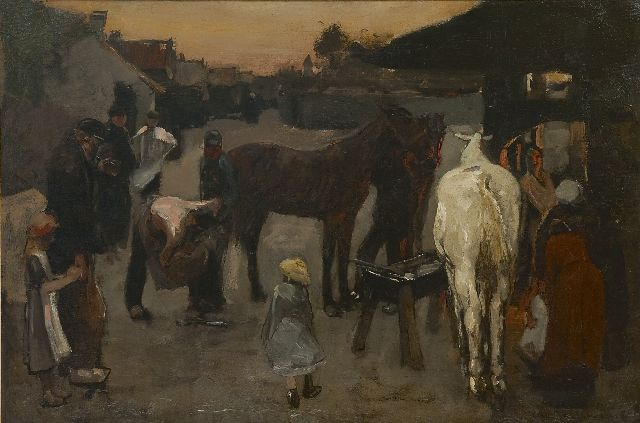 George Hendrik Breitner | At the blacksmith's, oil on canvas, 50.0 x 75.4 cm, signed l.r. and dated '87