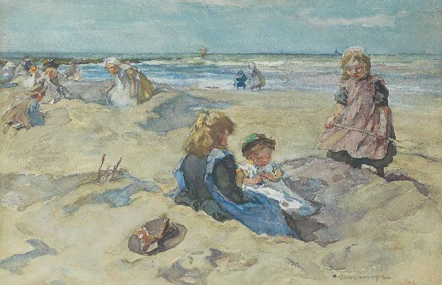 Johannes Evert Hendrik Akkeringa | A sunny day at the beach, watercolour on paper, 26.7 x 40.7 cm, signed l.r.