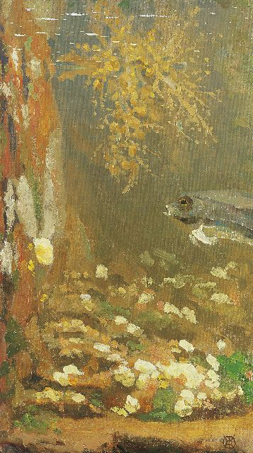 Gerrit Willem Dijsselhof | Aquarium, oil on canvas laid down on board, 33.6 x 19.3 cm, signed l.r. with monogram