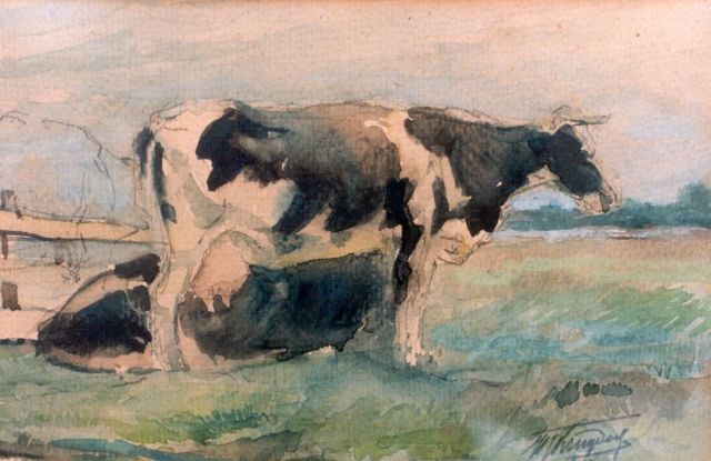 Herman Kruyder | Cows in a meadow, watercolour on paper, 14.0 x 21.0 cm, signed l.r.