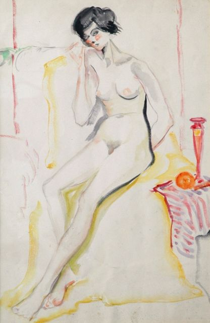 Alida Martens-Pott | A female nude sitting, watercolour on paper, 50.0 x 32.5 cm, painted circa 1924