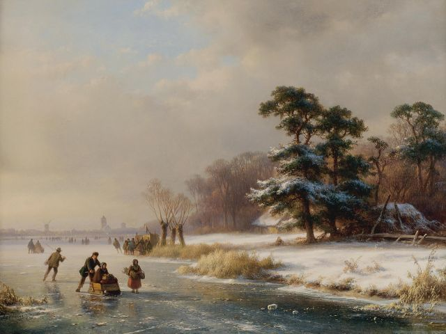 Lodewijk Johannes Kleijn | Skating fun on a frozen river, oil on panel, 34.5 x 46.0 cm, signed l.l.