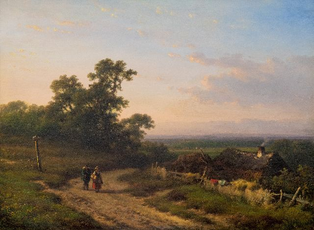 Lodewijk Johannes Kleijn | An extensive summer landscape with peasants, oil on panel, 34.5 x 46.7 cm, signed l.r.