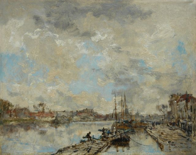 Mastenbroek J.H. van | Fishing boats alongside a quay, oil on canvas 28.6 x 35.7 cm, signed l.r. and dated 1914