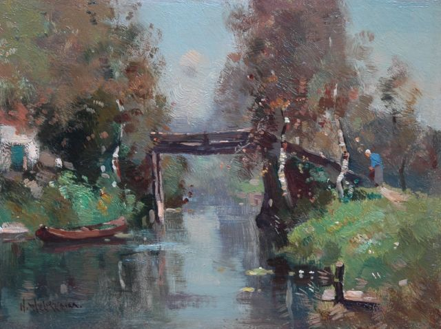Aris Knikker | A bridge, Giethoorn, oil on panel, 18.1 x 24.3 cm, signed l.l. with pseudonym 'H. Welther'