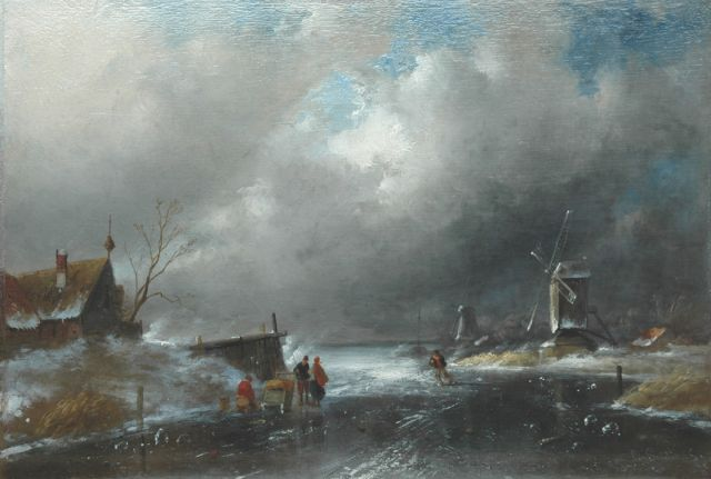 Charles Leickert | Approaching storm, oil on panel, 28.1 x 41.3 cm, signed l.r.