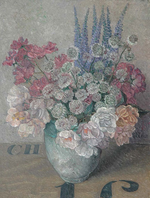 Jakob Nieweg | A still life with pink flowers, oil on panel, 35.5 x 27.3 cm, signed m.r. with monogram and dated 1932