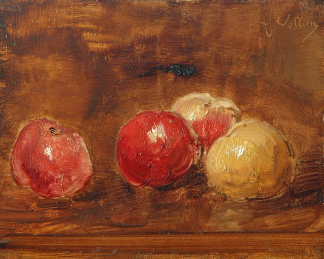 Antoine Vollon | A still life with apples, oil on panel, 21.4 x 26.8 cm, signed u.r.