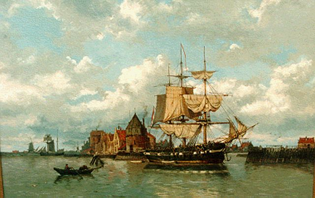 Koekkoek G.J.  | An anchored three-master, Hoorn, oil on canvas 63.0 x 84.0 cm, signed l.r.