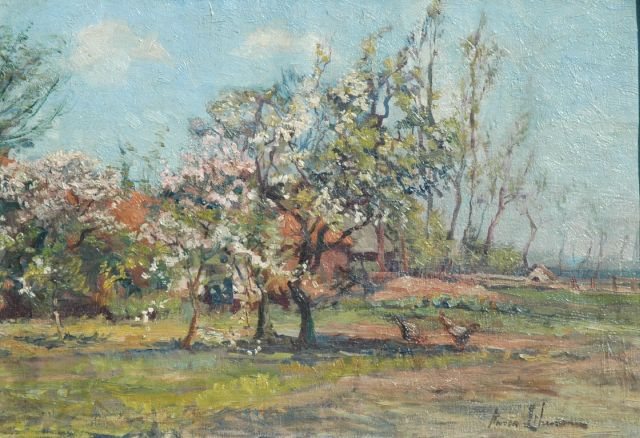 Anna Lehmann | Blossoming orchard, Rouge Cloítre, Belgium, oil on canvas, 34.8 x 51.7 cm, signed l.r.
