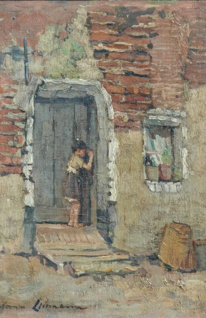 Anna Lehmann | A girl in front of a house, Brittany, oil on canvas laid down on painter's board, 35.1 x 25.1 cm, signed l.l.