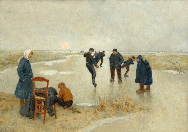 Louis Albert Roessingh | Skaters on the ice, oil on canvas, 59.2 x 84.2 cm, signed l.r.