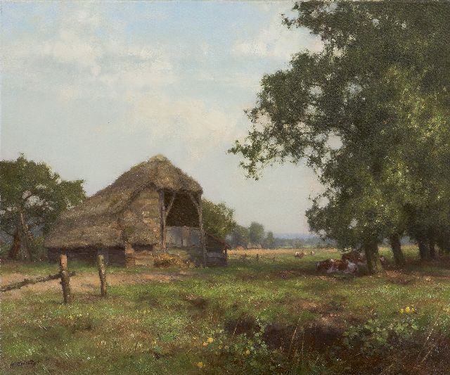 Jan Holtrup | A cow's shed in Havelte, oil on canvas, 50.2 x 60.2 cm, signed l.l.