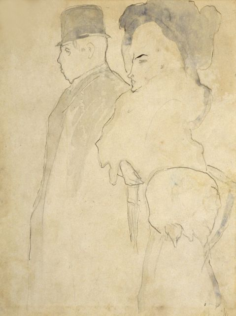 Leo Gestel | Strolling couple, pen and watercolour on paper, 26.5 x 20.0 cm, signed l.r. with monogram