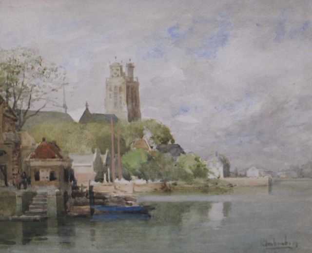 Karel Klinkenberg | A view from the water on Dordrecht, watercolour and gouache on paper, 20.6 x 24.9 cm, signed l.r.