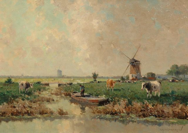 Gerard Delfgaauw | Punting farmer in a polder landscape, oil on canvas, 50.0 x 70.4 cm, signed l.r.