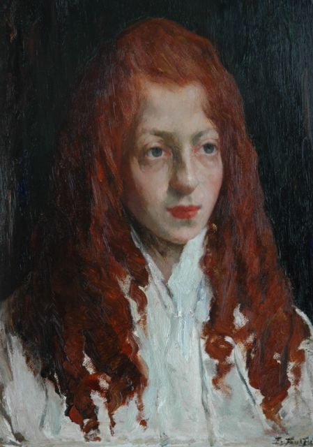Eduard Frankfort | Girl with red hair, oil on board, 48.5 x 35.5 cm, signed l.r.