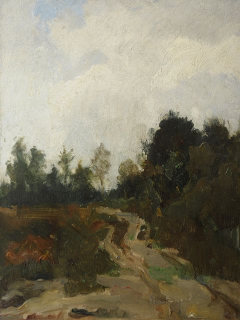 Eduard Frankfort | Sandy path in a wooded landscape, oil on board, 36.1 x 27.1 cm