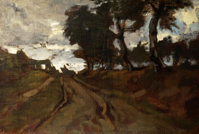 Eduard Frankfort | Sandy path along trees, oil on canvas laid down on board, 24.1 x 35.4 cm