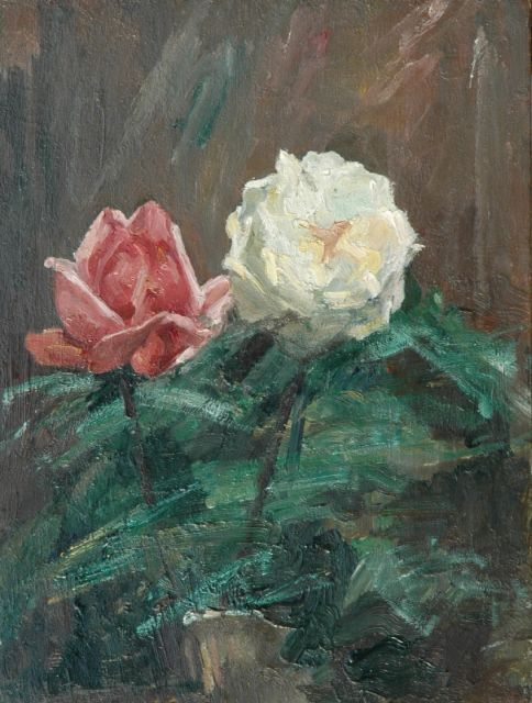 Eduard Frankfort | Roses, oil on panel, 36.0 x 27.3 cm