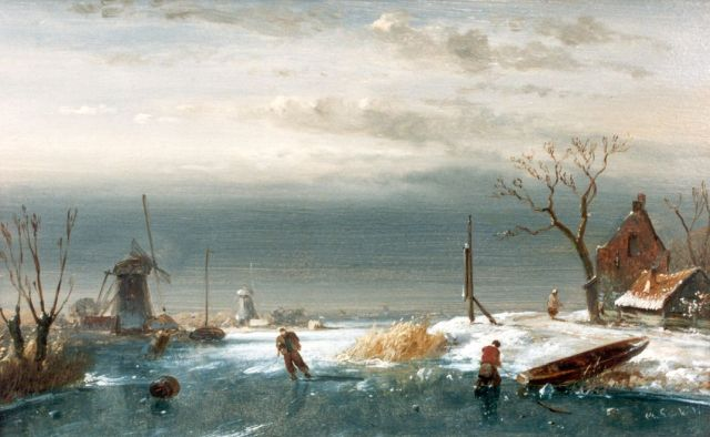 Charles Leickert | A winter landscape with skaters on a frozen waterway, oil on panel, 13.9 x 22.0 cm, signed l.r.