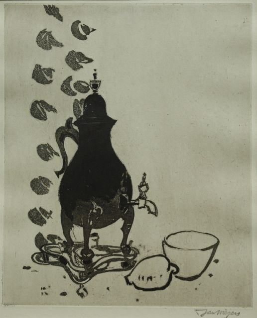 Wiegers J.  | A still life with coffee urn, aquatint, 35.0 x 28.0 cm, signed l.r. with stamp
