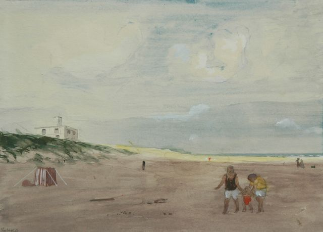 Harm Kamerlingh Onnes | At the beach, watercolour on paper, 20.0 x 27.5 cm, signed l.l. with monogram and dated '60