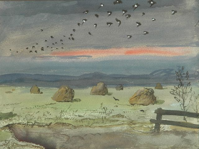 Harm Kamerlingh Onnes | A flock of birds over hayhocks, watercolour on paper, 24.0 x 31.5 cm, signed l.r. with monogram and dated '57