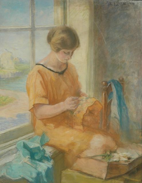 Vaarzon Morel W.F.A.I.  | The painter's wife embroiding, pastel on paper 66.0 x 51.0 cm, signed u.r.