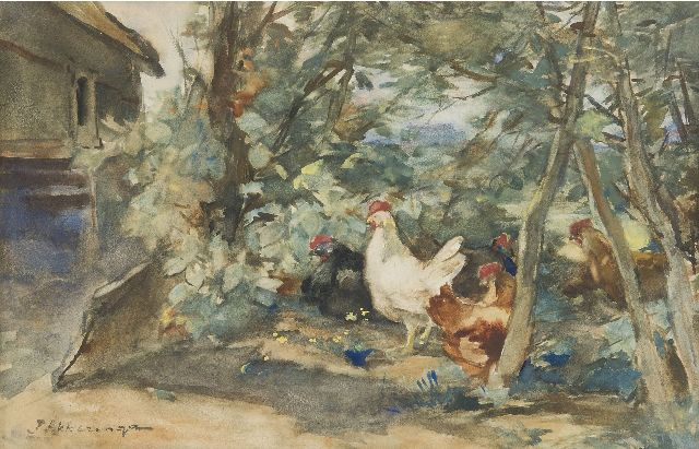 Akkeringa J.E.H.  | Chickens on a farmyard, watercolour on paper 18.7 x 29.3 cm, signed l.l.