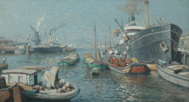 Evert Moll | View of the harbour of Katendrecht, Rotterdam, oil on canvas, 97.0 x 177.5 cm, signed l.r.