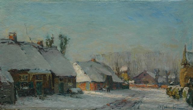 David Schulman | A village in the snow, oil on canvas, 25.2 x 44.6 cm, signed l.r.