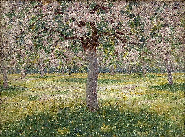 Lefebvre A.  | Blossoming trees, oil on canvas laid down on board 25.9 x 34.0 cm, signed l.r. and dated 1915