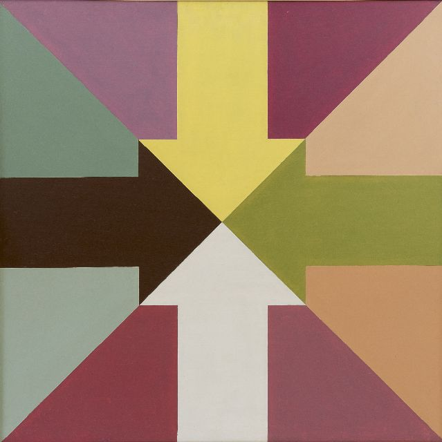 Stiphout T.G.W.  | 4 arrows, oil on board 60.3 x 60.3 cm, signed on the reverse and dated '76 on the reverse