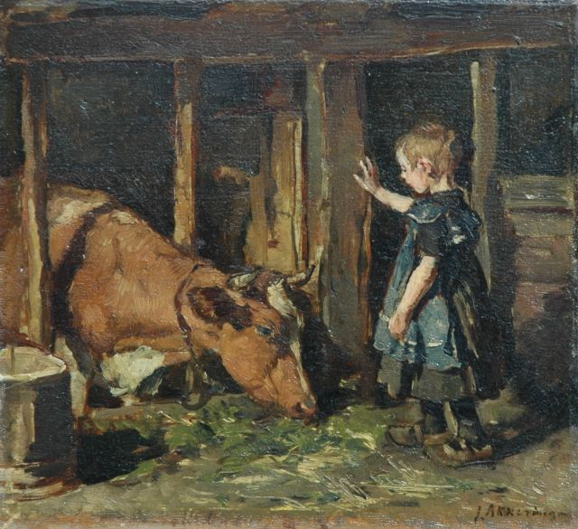 Johannes Evert Hendrik Akkeringa | Feeding the cow, oil on panel, 23.9 x 25.9 cm, signed l.r. and on the reverse Augts. 1909