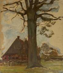 Mondriaan P.C. - Farm with tree, oil on board laid down on panel 75.5 x 64 cm, te dateren ca. 1906-1907