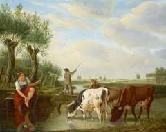 Kuytenbrouwer M.A. - A ferryman and cowherd in a Dutch river landscape, oil on panel 38.8 x 47.3 cm, signed l.r.