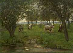 Mondriaan P.C. - Cattle in an orchard, oil on canvas 50.2 x 69.3 cm, signed l.l. and painted 1902-1903