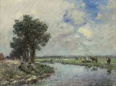 Jongkind J.B. - Near the river, probably de Dinkel near Lattrop, oil on canvas 24.6 x 32.5 cm, signed l.r. and dated 1868