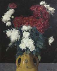 Wouters W.H.M. - Still life with chrysanthemum, oil on canvas 65.1 x 53 cm, signed l.r.